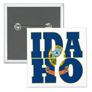 Idaho state flag text pinback button