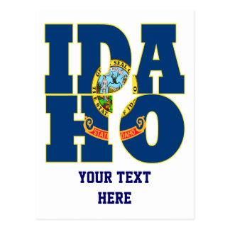 Idaho state flag text postcard