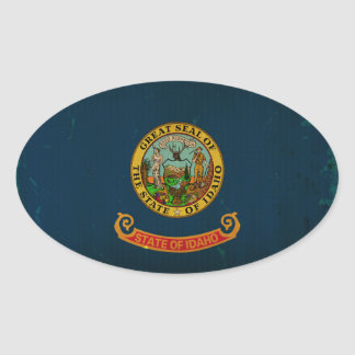 Idaho State Flag VINTAGE.png Oval Sticker