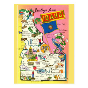 Idaho Map Postcards   Zazzle