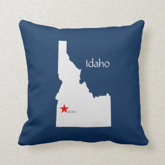 Idaho State Map with Capitol Star Throw Pillow
