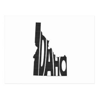 Idaho State Name Word Art Black Postcard