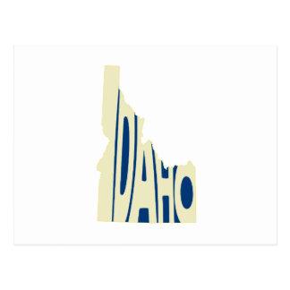 Idaho State Name Word Art Yellow Postcard
