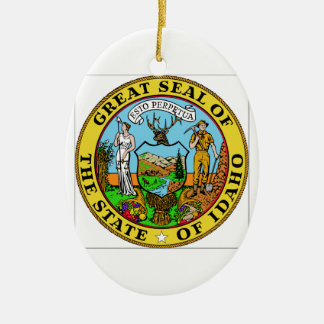 Idaho State Seal Double-Sided Oval Ceramic Christmas Ornament