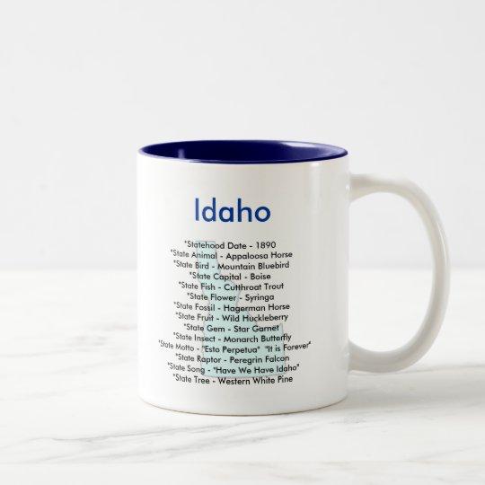 Idaho Symbols & Map Two-Tone Coffee Mug