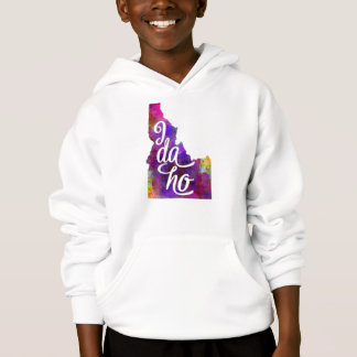 Idaho U.S. State in watercolor text cut out Hoodie