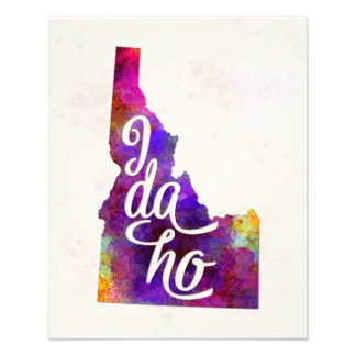 Idaho US State in watercolor text cut out Fotografía