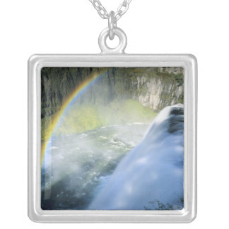 Idaho. USA. Rainbow in spray above Upper Mesa Square Pendant Necklace