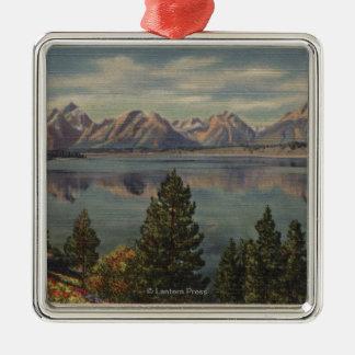 Idaho - vista de la gama de Teton y del lago jacks Adorno De Navidad