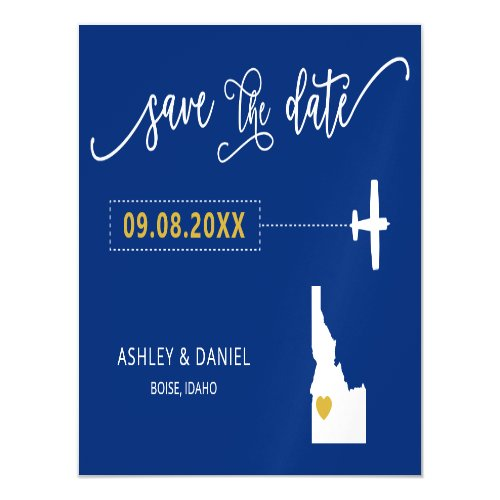 Idaho Wedding Save the Date Card Map Magnetic Invitation