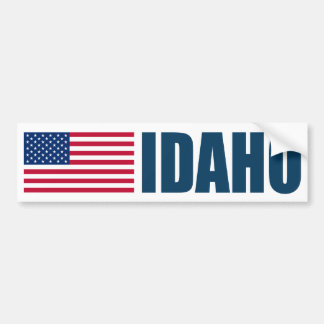 Idaho with US Flag Bumper Sticker