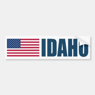 Idaho with US Flag Bumper Sticker