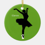 iDance Green Double-Sided Ceramic Round Christmas Ornament