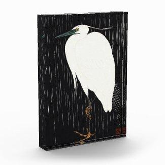 Ide Gakusui White Heron in Rain ukiyo-e japanese Acrylic Award