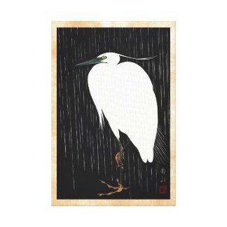 Ide Gakusui White Heron in Rain ukiyo-e japanese Canvas Print