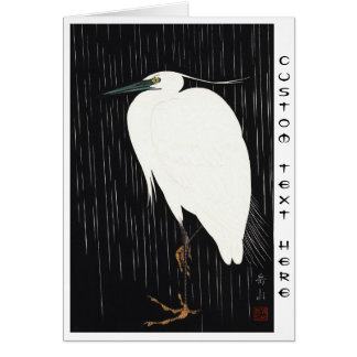 Ide Gakusui White Heron in Rain ukiyo-e japanese Stationery Note Card