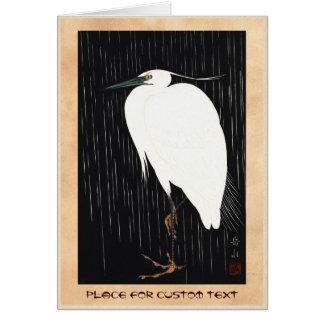 Ide Gakusui White Heron in Rain ukiyo-e japanese Card