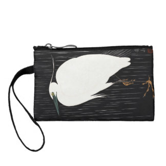 Ide Gakusui White Heron in Rain ukiyo-e japanese Coin Purse