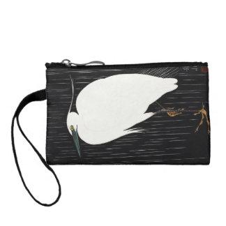 Ide Gakusui White Heron in Rain ukiyo-e japanese Coin Wallet
