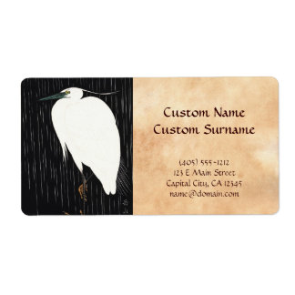 Ide Gakusui White Heron in Rain ukiyo-e japanese Label