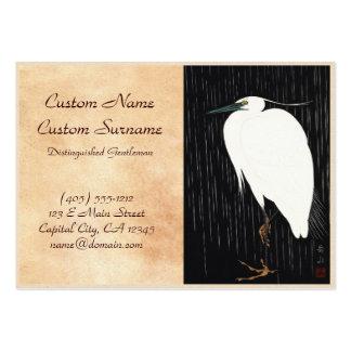 Ide Gakusui White Heron in Rain ukiyo-e japanese Large Business Card