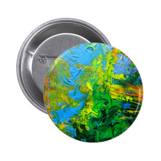 Idea abstract texured art in green blue orange pinback button