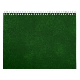 Idea casera de encargo del regalo del fondo verde calendarios de pared