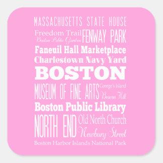 Idea del regalo de Boston única, Massachusetts Pegatina Cuadrada