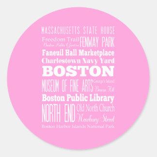 Idea del regalo de Boston única, Massachusetts Pegatina Redonda