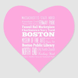 Idea del regalo de Boston única, Massachusetts Pegatina En Forma De Corazón