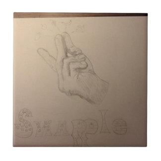 Idea dibujada mano hermosa de snapple azulejo cuadrado pequeño