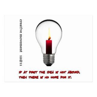 Idea Light Bulb Candle Postcard