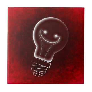 Idea Light-bulb, Smile, smiley face,Lightbulb, red Ceramic Tile