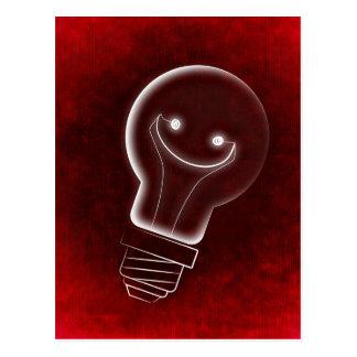 Idea Light-bulb, Smile, smiley face,Lightbulb, red Postcard
