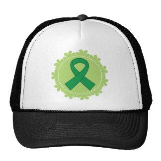 Idea verde del regalo de la cinta de la conciencia gorras