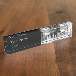IDEAL CITY, Renaissance Architecture, Black White Name Plate