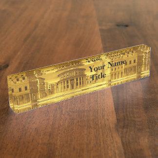 IDEAL CITY,Renaissance Architecture / Gold Yellow Desk Name Plate