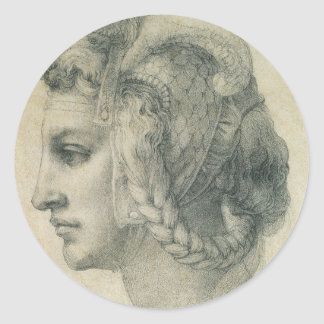Ideal Head of a Woman by Michelangelo Classic Round Sticker