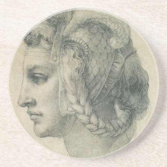 Ideal Head of a Woman by Michelangelo Drink Coaster