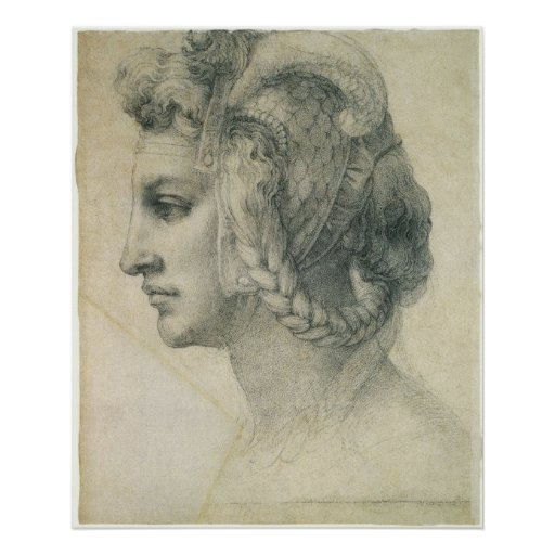 Ideal Head of a Woman by Michelangelo Posters