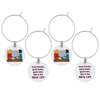 ideal life wine glass charm