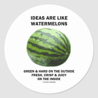Ideas Are Like Watermelons (Food For Thought) Classic Round Sticker