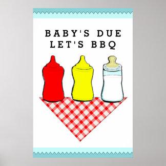 Ideas de la fiesta de bienvenida al bebé del Bbq Póster