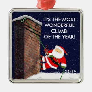 ideas del regalo de la escalada adorno cuadrado plateado