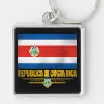 """""""Ideas del regalo del orgullo de Costa Rica"""" Llavero Cuadrado Plateado"""