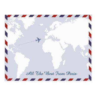 ideas del viaje. mapa del mundo tarjetas postales