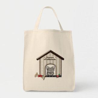 Ideas lindas de los regalos del navidad del perro  bolsa lienzo