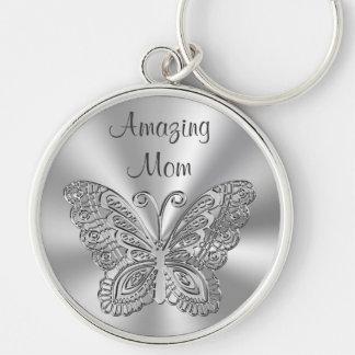 Ideas personalizadas del regalo del día de madres, llavero redondo plateado