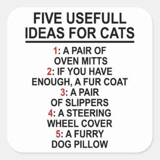 Ideas útiles del gato pegatina cuadrada