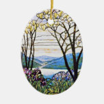Idellic Landscape Tiffany Stained Glass Double-Sided Oval Ceramic Christmas Ornament